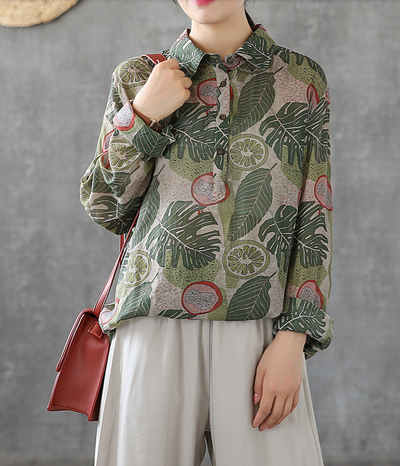 Women Casual Blouse Cotton Linen Shirts Tops DZA200865