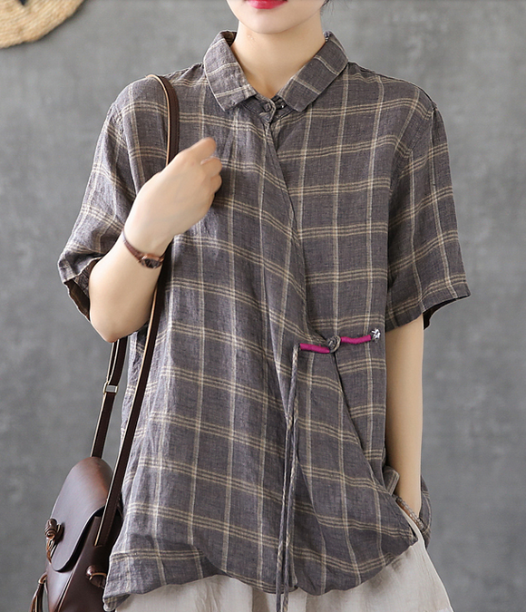 Plaid Summer Women Casual Blouse Cotton  Linen Shirts Tops