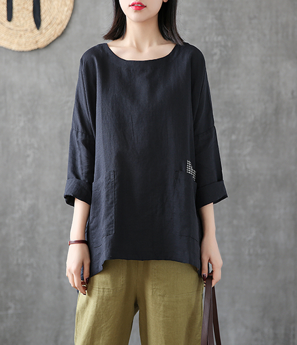 Length Sleeve Summer Women Casual Blouse Cotton Linen Shirts Tops