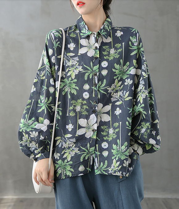 Printed Women Casual Blouse Linen Shirts Tops DZA2008232