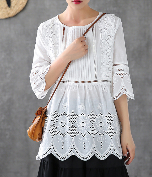 Hollow Summer Women Casual Blouse Cotton Shirts Tops