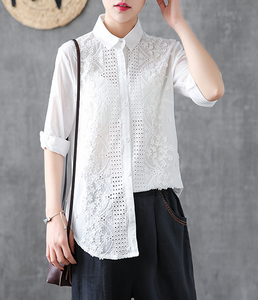 Hollow out Embroidery Length Sleeve Summer Women Casual Blouse Cotton Linen Shirts Tops