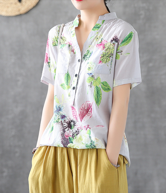 Floral Summer Women Casual Blouse Cotton Shirts Tops