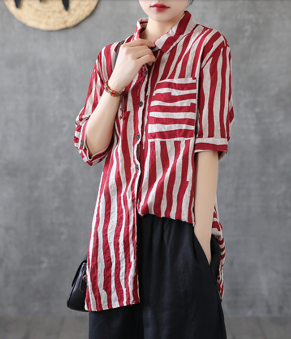 Striped Summer Women Casual Blouse Cotton  Linen Shirts Tops