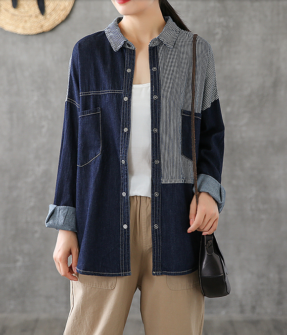 Denim Women Casual Blouse Cotton Linen Shirts Tops DZA200863