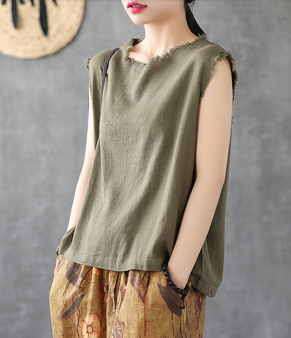 Summer Women Casual Blouse Cotton Linen Shirts Tops