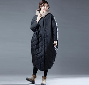 Color Block Women Winter Loose Duck Down Jackets Long Warm Women Long Down Coat Plus Size