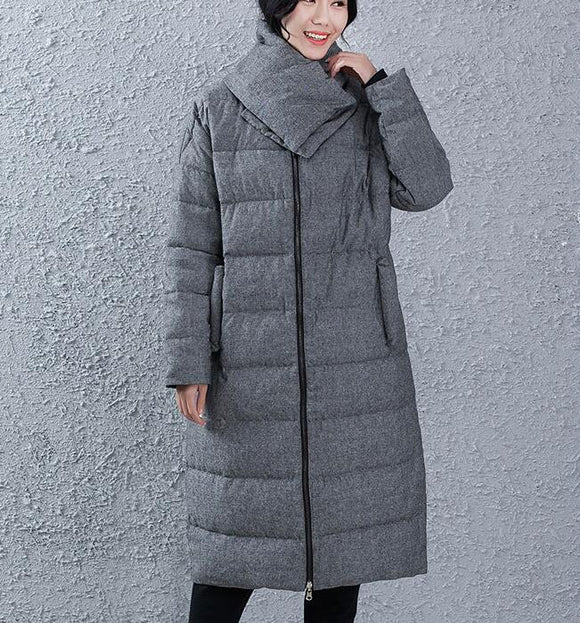 Two Side Wears Women Winter Loose Thick 90% Duck Down Jackets Warm Long Down Coat