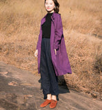 Purple linen Loose Long Sleeve Women Linen Dresses  ZF98413