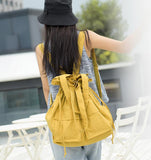 Washed Oxford Simple Design Casual Large Backpack Women Handbag Bag Shoulder Tote Bag