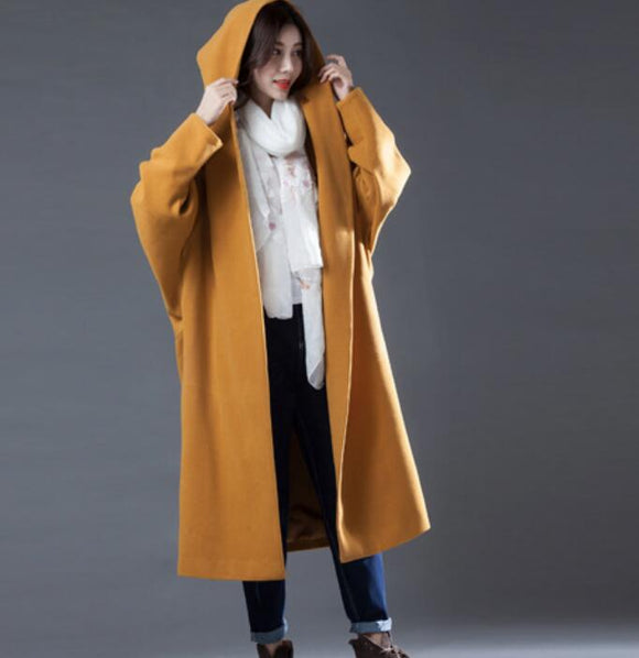 Yellow Women Double Breasted Coat Handmade Long loose Women Wool Coat Jacket