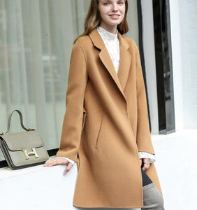 One Button Slit Women Winter Black Vintage Style Women Wool Coat Jacket