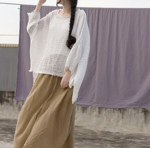 Women Linen Tops Women Blouse 3/4 Sleeves Loose Style H9504