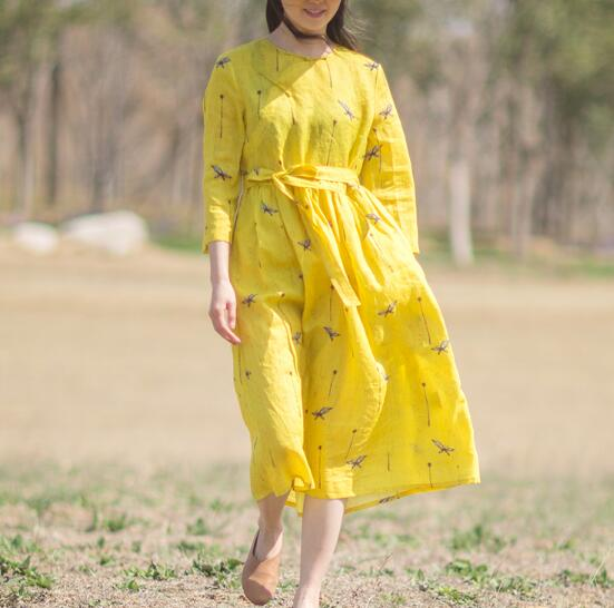 Yellow-Print-Floral-100%-linen-women-Dresses-summer-spring-women-dresses (3)