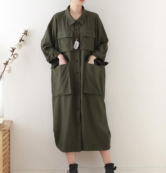 Army Green Buttons Spring Cotton Loose Long Dresses Plus Size AMT962328