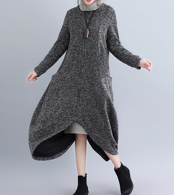 Long Sleeve Linen Cotton O Neck Women Dress