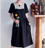 black-100%-Linen-Women-Dresses -Sleeves-Long-Dresses-lace-trim (1)