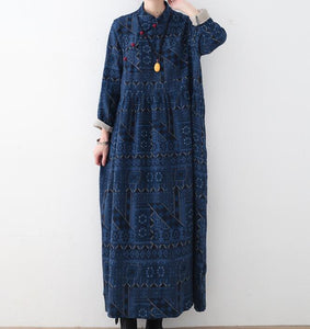 Cotton Linen Print Long Women Dresses Plus Size AMT962328