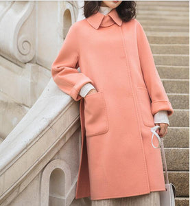 Pink Cashmere Women Winter Black Long Women  Wool Coat Jacket