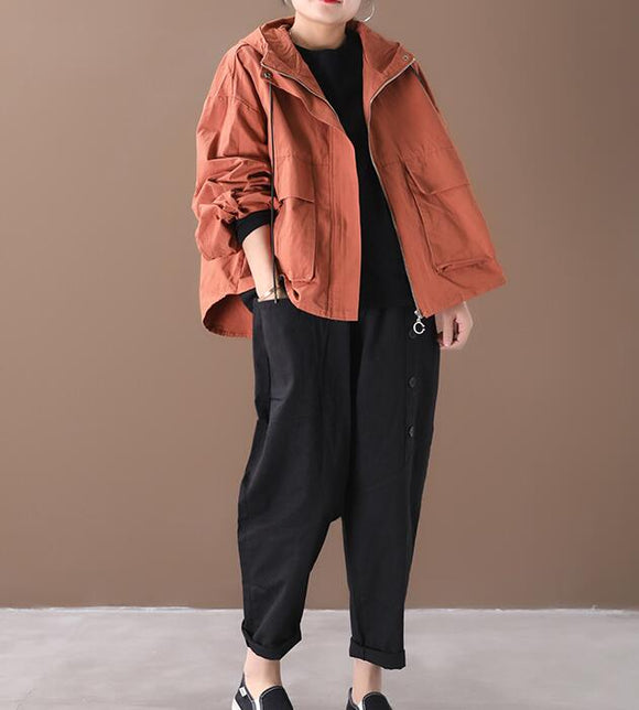 Draw String Hooded Loose Short Casual Coat A line Parka Plus Size Coat Jacket