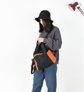 Color Block Casual Large Backpack Women Travel Bag Shoulder Bag