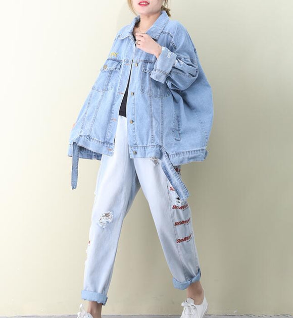Loose Denim Short Hooded Casual Coat A line Parka Plus Size Coat Jacket
