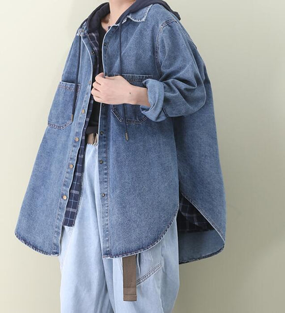 A line Slit Hooded Loose Hooded Casual Coat Parka Plus Size Coat Jacket Fake Two-piece