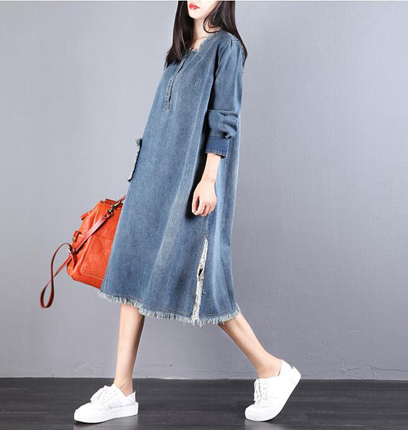 Denim Loose Long V Neck Dresses Plus Size Women Dresses