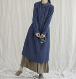 Denim Loose Long Sleeve Line Women Dress YM201229