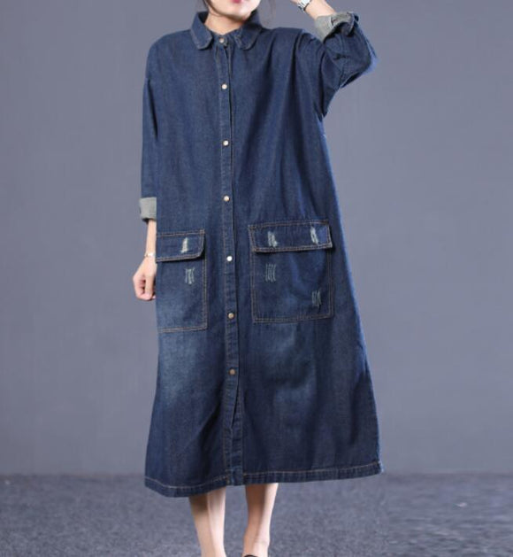 Denim Loose Women Cotton Loose Dresses Long Sleeve Women Dress YM9201229