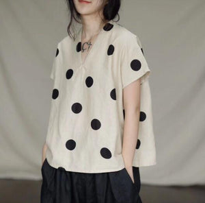 Loose Fitting Women Linen Cotton Tops  Dot Women Blouse 3/4 Sleeves Loose Style H95005