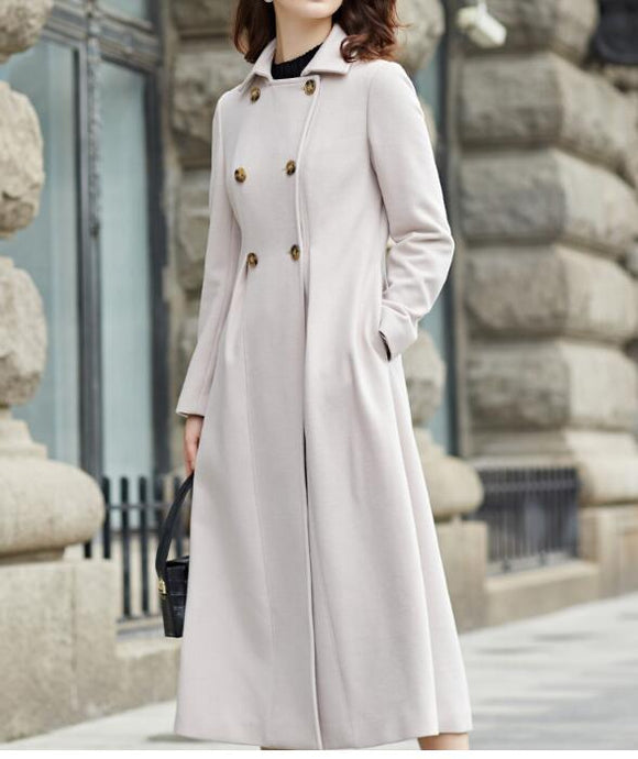 Double Breast Waist Belt Cashmere Coat Handmade Long Warm Long Women Wool Coat Jacket