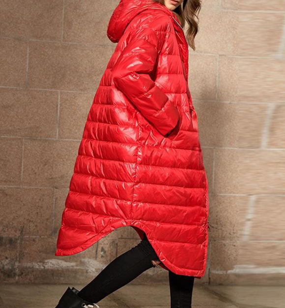 A -line Hooded Long Winter Duck Down Jacket Loose Down Jacket Women