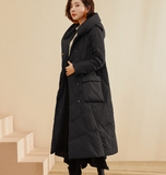 Long Winter Duck Down Jacket, Hooded Down Jacket Women