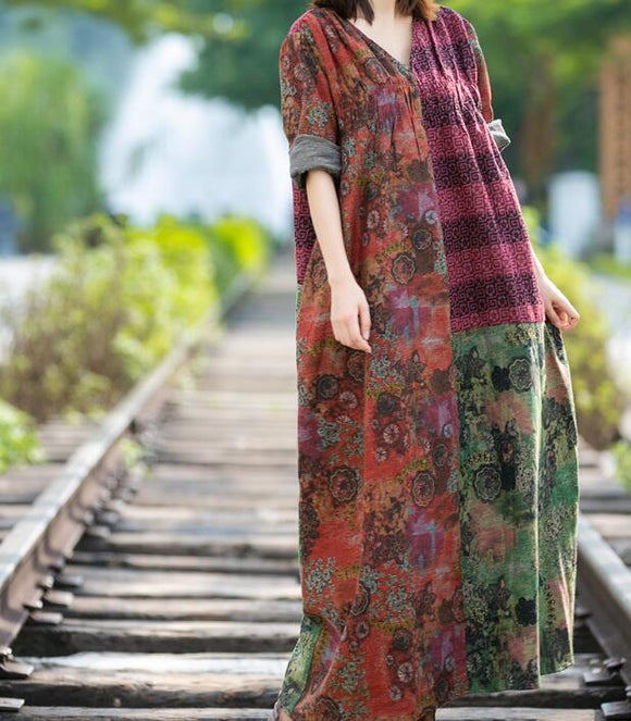 Floral Loose Long Dresses Plus Size AMT962328