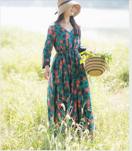Maxi Floral Long Sleeve Ramie Women Dress YM201229