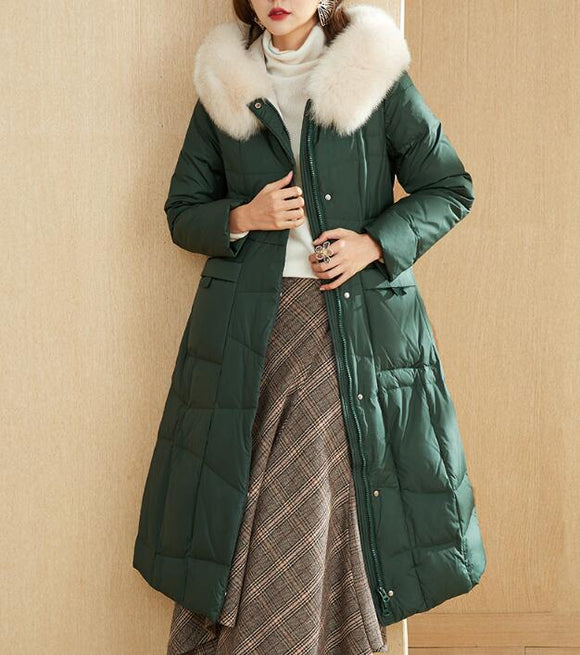 Fur Trim Long Winter Duck Down Jacket Hooded Down Jacket Women Coat