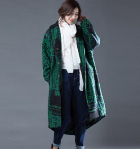 Green Women Coat Handmade Bat Sleeve loose Women Wool Coat Jacket