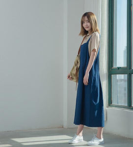 Blue Linen Jumpsuit wide Leg Pants Women Long  Jumpsuit