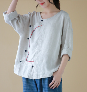 Stiching Round Neck Long Sleeves Shirts Loose Casual Linen Spring Women Tops SXM97299