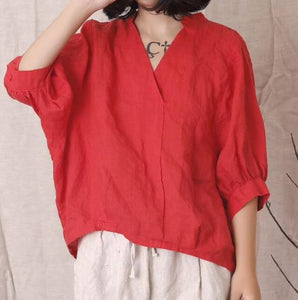 Loose Fitting Women Ramie Tops Women Blouse Linen Tops Short Sleeves Loose Style H9505