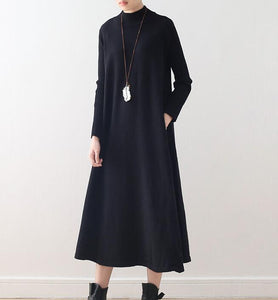 High Collar A-line Knit Long Women Dresses AMT962328