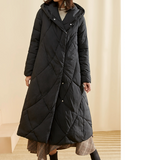 A-Line Long Winter Duck Down Jacket, Hooded Down Jacket Women