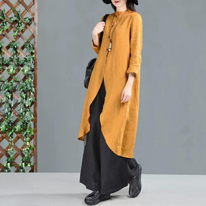 women-yellow-linen-long-skirts-3/4-sleeves
