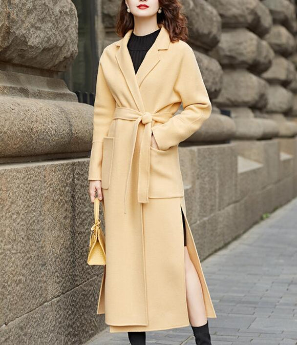 Slit Waist Belt Cashmere Coat Handmade Long Warm Long Women Wool Coat Jacket