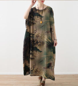 Silk Floral Loose Long Dresses Plus Size AMT962328
