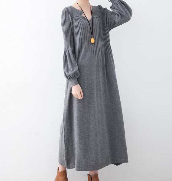 High Collar Loose Cotton Knit Long Dresses Plus Size AMT962328