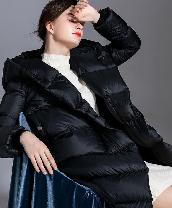 Loose Long Women Down Coat Winter Loose 90% Hooded Duck Down Jackets