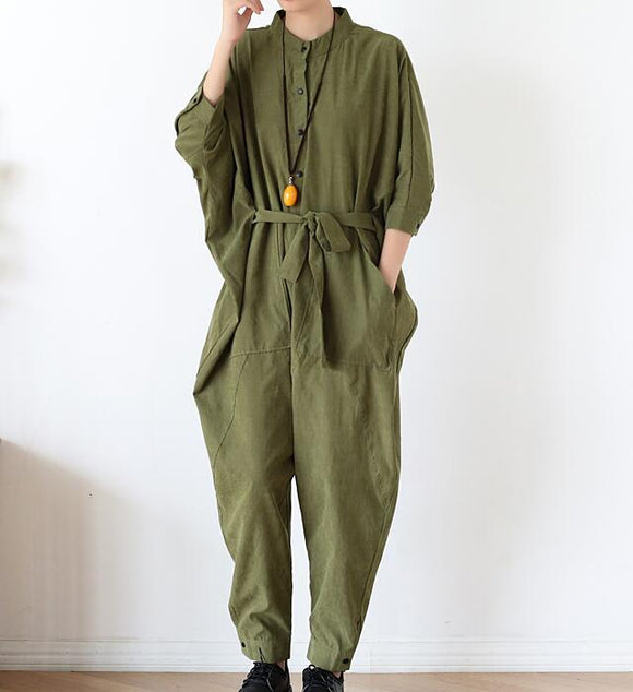 Waist Belt Loose Cotton Women Casual Jumpsuits PZ97251