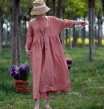 Pink Plaid Linen Long Sleeve Dress Loose Women Dress SJP9201229